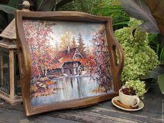 """Купить Большой поднос """"Осенние мотивы"""" - коричневый, поднос, поднос для кухни, поднос для завтрака"""