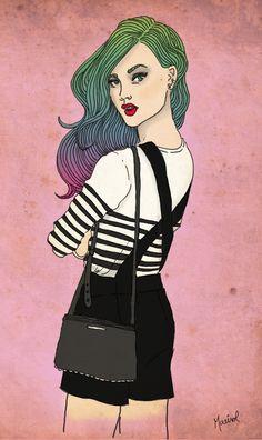 Chica en mameluco.  Girl in overalls.  Si te interesa la ilustración podes escribirme a sol.dlvega@gmail.com.   If you like the illustration, please send me an email sol.dlvega@gmail.com