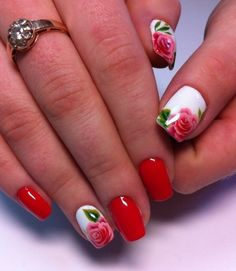 Birthday nails, Festive nails, Floral nails, flower nail art, Flowers on nails, Nails with flowers, Nails with roses, Red and pink nails