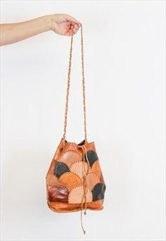 VTG Brown leather scallop shapes patchwork bucket bag- BGL27