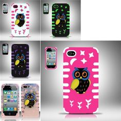 For iPhone 4/4s PC/SC Owl 3D Design Case Cover