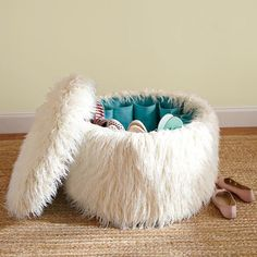 Hidden shoe storage in this fun, fuzzy ottoman. Great for the dorms or a teen's room. #shoe #storage