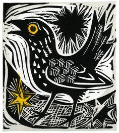 Little Blackbird Mark Hearld linocut 105 x 118 mm edition size 95, 95GBP