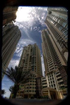 A down under view of the tall buildings in Panamá City, Panama