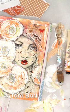 """mixed media art journal page - peach and apricot (love them!) with a girls face sketched and the word """"hope"""". art journaling, shabby old flowers and blooms."""