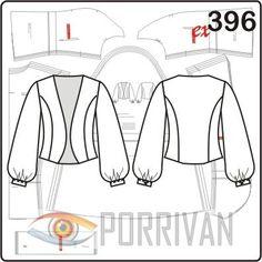 Выкройка жакета предполагает шитьё полочек и спинки из плотных тканей, рукава и манжеты шьются из прозрачных шёлковых материалов