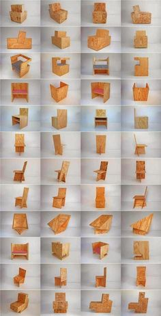 Diferentes sillas y sillones construidos con paneles OSB