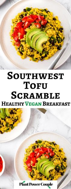 This vegan tofu scramble recipe infused with Southwest flavors is a healthy and delicious plant-based breakfast option! We make this veganized tofu scrambled eggs recipe with black salt or kala namak for that unique eggy flavor as well as a wonderful array of common household spices. We love to serve this as a breakfast platter or burrito and even sometimes make a big batch to have breakfast for dinner! #veganbreakfast #tofurecipe #tofuscramble #plantbased Tofu Recipes, Healthy Eating Recipes, Tofu Scrambled Eggs Recipe, Healthy Vegan Breakfast, Free Breakfast, Breakfast Platter, Vegan Recipes Beginner, Plant Based, Household