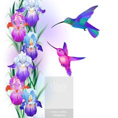 Seamless pattern with iris flowers and hummingbird vector 1870169 - by alchena on vectorstock Iris Tattoo, Flower Tattoos, Hummingbird Tattoo Meaning, Symbol Tattoos With Meaning, Sister Tattoos, Friend Tattoos, Vector Flowers, Body Art Tattoos, Tatoos