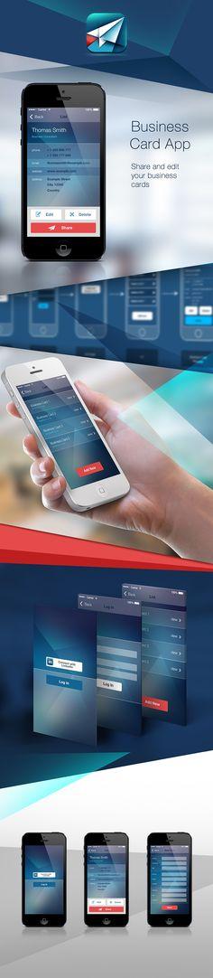 Business Card App by Marko Aleksic, via Behance Iphone App Design, App Ui Design, Mobile App Design, User Interface Design, Mobile Ui, Web Design Tools, Creative Web Design, Tool Design, User Experience Design