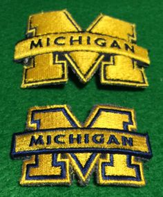 Lot of 2 Michigan Wolverines BLUE Embroidered Patches by CoryCranksOutHats on Etsy