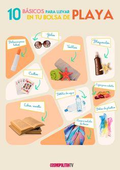 ¡El verano está tan cerca que casi podemos probarlo! Las vacaciones en la playa son algo común en esta temporada, por eso les preparé una lista con 10 básicos para llevar en tu bolsa de playa.