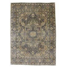 Antique Persian Yazd Oversize Rug | From a unique collection of antique and modern persian rugs at https://www.1stdibs.com/furniture/rugs-carpets/persian-rugs/