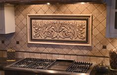 Large hand pressed decorative tiles by Andersen Ceramics, Austin TX Tuscan Kitchen, Kitchen Backsplash Designs, Outdoor Kitchen Design, Kitchen Backsplash, Kitchen Renovation, Outdoor Kitchen Countertops, French Country Kitchens, Country Kitchen Designs, French Country Kitchen
