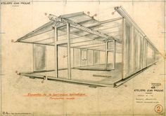 """Jean Prouvé designed """"The Tropical House"""" in 1949 as a prototype for inexpensive, easily assembled housing to transport to France's African colonies. Fabricated in the designer's French workshops, the components for the house were completed in 1951 and flown disassembled to Africa. The house was erected in the town of Brazzaville, Congo"""
