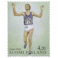 Postimerkki: Yleisurheilu - Lasse Viren | Suomen postimerkit Lassi, Graphic Tank, Finland, Stamps, Paper, Women, Seals, Postage Stamps, Stamp