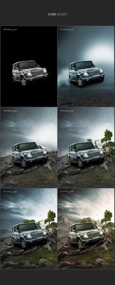 Mercedes- Process of the design. Even though the car in central in the image, since the car is angled, it makes the composition more interesting, also allowing the viewers to see more of the vehicle. Automotive Photography, Advertising Photography, Commercial Photography, Creative Advertising, Advertising Design, Photomontage, Photo Retouching, Photo Editing, Motif Photo