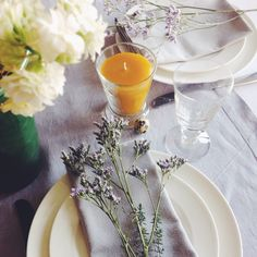 Beautiful Easter table setting. Just add flowers and a beeswax candle. www.apidaecandles.de