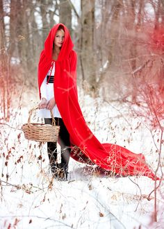 the hood / y'all said it, little red riding hood Charles Perrault, I Love Winter, Winter Cape, Cosy Winter, Winter Snow, Winter Style, How To Pose, Red Riding Hood, Shades Of Red