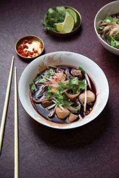 Blood is bold, a bit bitter—and, frankly, kind of creepy. But we like it—especially in this spicy, delicious Thai Boat Noodle Soup Thai Recipes, Asian Recipes, Soup Recipes, Cooking Recipes, Saveur Recipes, Easy Recipes, Thai Cooking, Asian Cooking, Noodle Recipes