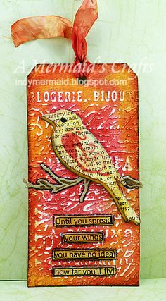 A Mermaids Crafts: Little Scrap Pieces Fun Friday - Tag, You're It!!  distress stains: rusty hinge, fired brick, spiced marmalade  distress ink: wild honey, fired brick, gathered twigs