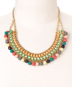 Orange & Teal Bead Bib Necklace