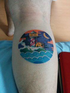 Watercolor Lighthouse Tattoo by Marc Prata TorontoInk, Toronto