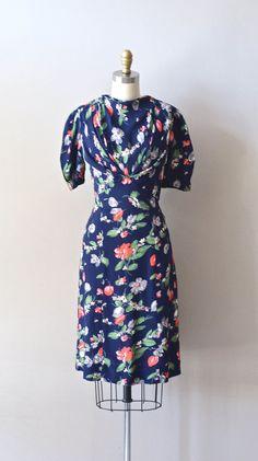 vintage 40s dress / rayon 1940s dress / Decoration Day dress