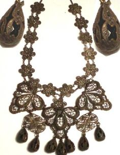 Georgian Mourning Necklace- mourning necklaces were commonly woven from or contained the deceased person's hair