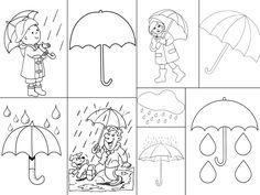 deštník, déšť omalovánky