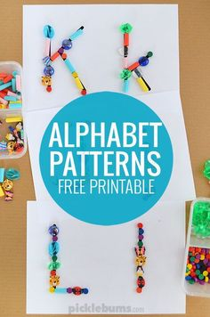Alphabet Patterns - use our free printable and some loose parts for this hands on letter learning activity