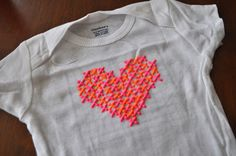 DIY Baby Onesies (faux cross stitching with puff paint)