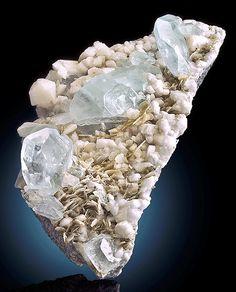 Beryl var. Aquamarine on Albite and Muscovite ~ Pingwu Beryl Mine, Mt Xuebaoding, Mianyang Prefecture, Sichuan Province, China