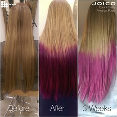 Laceys Education team tested Joico Color Intensity Amamethyst purple on Natural Blonde - No pre lightening! Here are the results - before, after and 3 week (11 Washes) Truely is an amazing little product