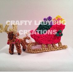 Rainbow loom reindeer and sleigh