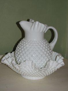 Fenton hobnail milk glass Pitcher and bowl.