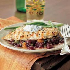 Pan-Grilled Chicken with Cranberry Salsa by Cooking Light