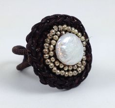 New Designer Big Bold Pearl Brown Cord Ring Adjustable Ring #Unbranded #Statement