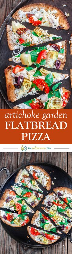 15-minute Artichoke Garden Flatbread Pizza | The Mediterranean Dish. Mediterranean-style flatbread pizza with artichokes, tomatoes, olives, feta and more! With ready low-carb, high fiber Flatout� Flatbread!