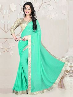 Light Green Georgette Saree with Stone Work