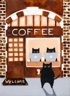 Shop The Black Cats Coffee House Folk Art Photo Print created by kilkennycat. Personalize it with photos & text or purchase as is! Color Splash, Black Cat Art, Black Cats, Photo Chat, Cat Posters, Coffee Art, Coffee Shop, Cat Drawing, Crazy Cats