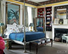 A master suite by Michael Smith featuring the JRT German Silver Bed courtesy of Elle Decor