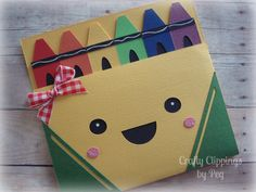 Crayon Card Back to School Card Kids Back by CraftyClippingsbyPeg