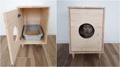 Cat Litter Box Cover Pet Furniture Cat House Modern by PinkBau