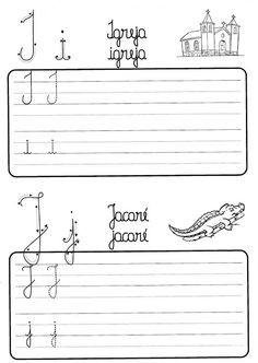 Atividade de caligrafia letras do alfabeto ilustrado - Como Fazer Cursive, Growth Mindset, Handwriting, Sheet Music, Alphabet, Bible, Education, Reading, Abs