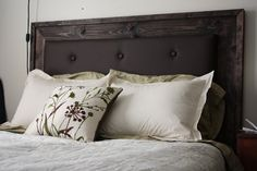 Upholstered headboard.  Doing these for 2 of my rooms in different finishes, of course.