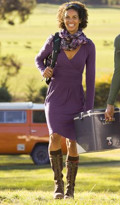 Skirts and Dresses: Outfit Ideas   Athleta. Perfect packer dress; ikat scarf; ornamental knee high socks; olukai kalia boot.