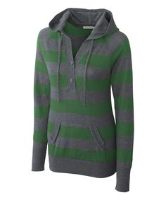 Hunter & Gray Stripe Knockout Hooded Sweater - Women & Plus   zulily