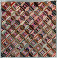 """Pressed Log Cabin quilt ca. 1860.  Thirty-six hand pieced 8 1/2"""" blocks are made by folding and pressing the fabric, then stitching it to a foundation piece. The blocks are diagonally set on point."""