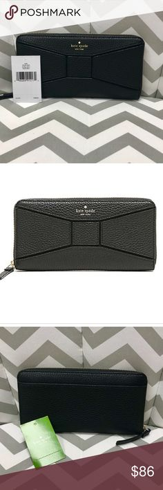 """♠️ NWT Kate Spade wallet ♠️ need to sell 🎉 NWT Kate Spade neda zip around Black wallet.  8""""L x 4""""H, 12 credit card slots, exterior slot, interior zipper, and 2 slip pockets.  Another gift gone unused, too cute to stay sitting in my closet. kate spade Bags Wallets"""